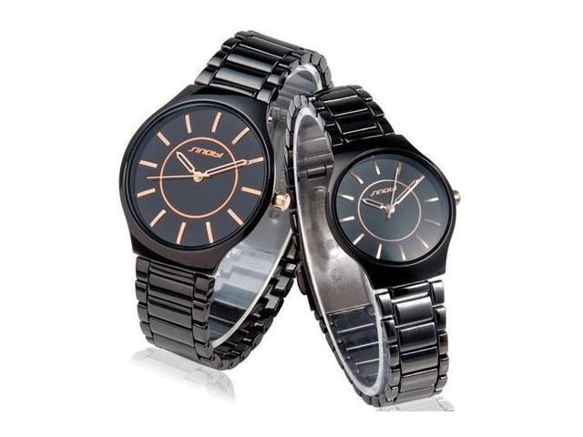 SINOBI 9442 Tungsten Steel Analog Quartz Couple Watches for Lovers (Black) M.