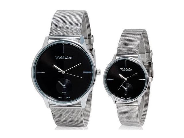 WOMAGE 654 Fashionable Analog Couple Watches (Black) M.