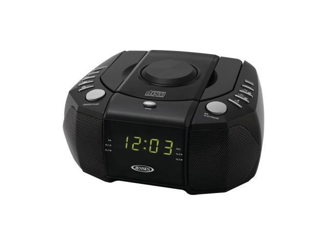 JENSEN Dual Alarm Clock AM/FM Stereo Radio with Top Loading CD Player JCR-310