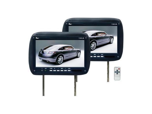 Tview T110plbk 11.2 Black Car Headrest Widescreen Lcd Monitors W/ Remotes