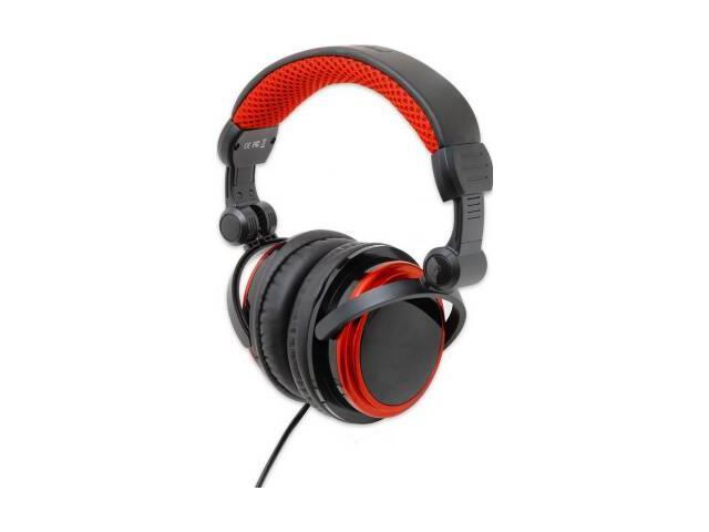 SYBA CL-AUD63063 Light Weight Foldable Large Leatherette Cup Black Red Connectland DJ Headphones