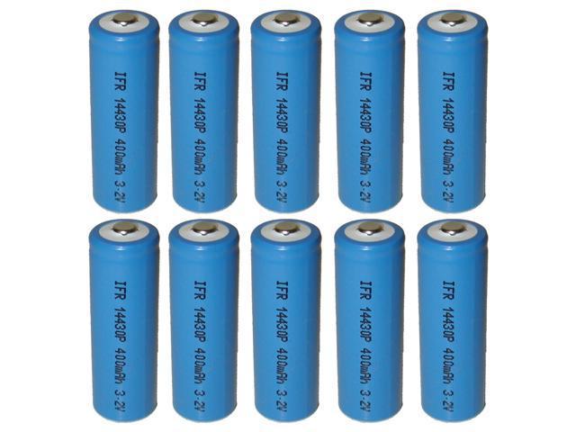 10x Exell Battery Li-FePO4 Size 14430 Rechargeable Battery 3.2V 400mAh