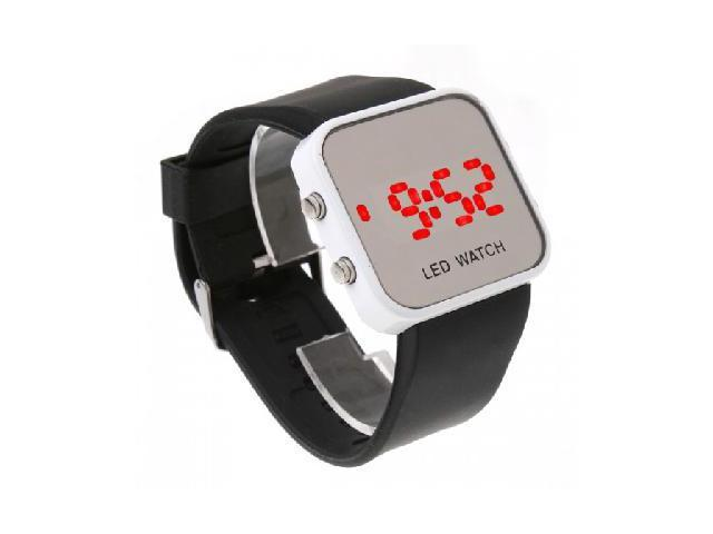 Black Sport Style Mirror Surface Silicone LED Digital Watch for Women and Men
