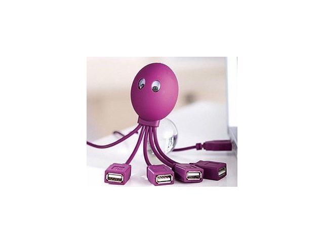 ECSEM 4-Port 2.0 USB Hub For Mac and PC High Speed. 4-Legged Octopus Design USB Hubs with LED in Purple