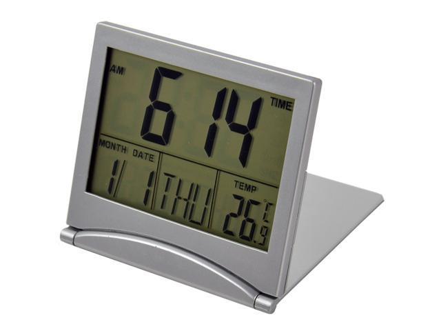 Simple Desk Digital LCD Thermometer Calendar Alarm Clock Electronic Silver
