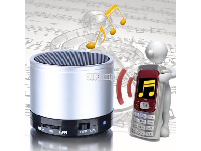 Silver Wireless Bluetooth Rechargeable Stereo Speakers For iPhone Samsung MP3