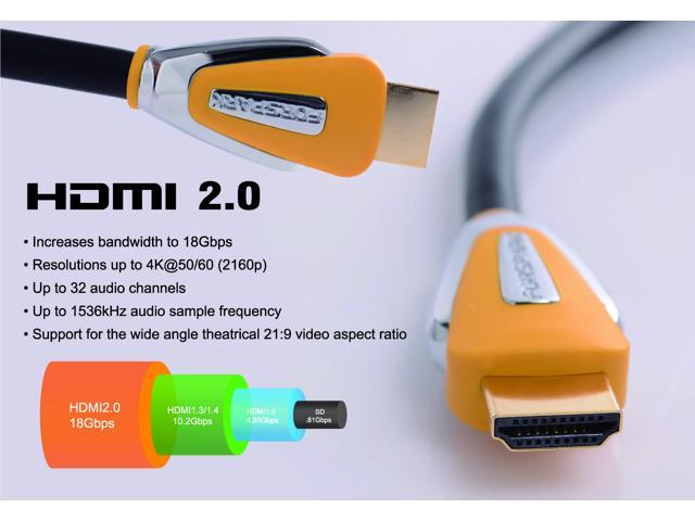 Forspark High Speed Ultra HDMI Cable 5 Feet with Ethernet ,Full HD - Supports 4K, 3D, 1080p and Audio Return ,Yellow Case -HDMI 2.0