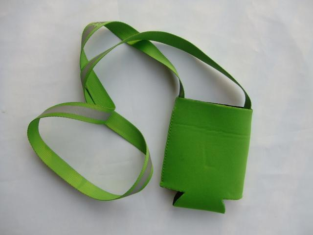 Green Neoprene Blank Can Koozie Coozie Carrier Cooler with a 43.3'' Reflective Lanyard Easy to Carry when doing Sports for 330ml 12oz can koozies ...