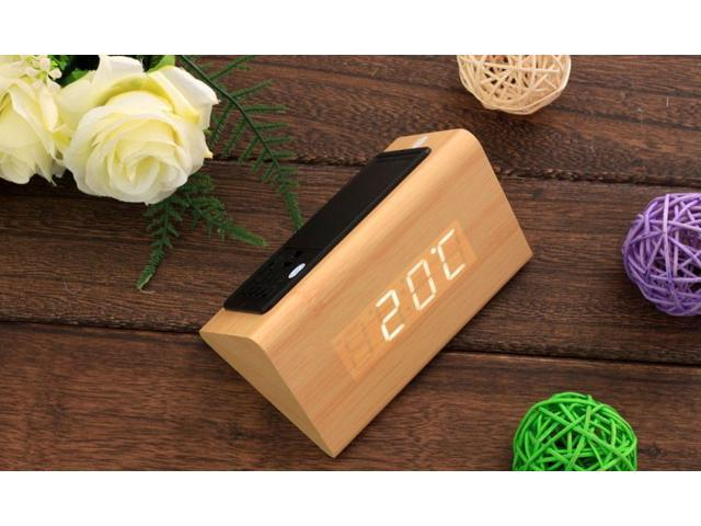 Wooden LED Alarm Clock with Time Temperature Date - New 2014 Version