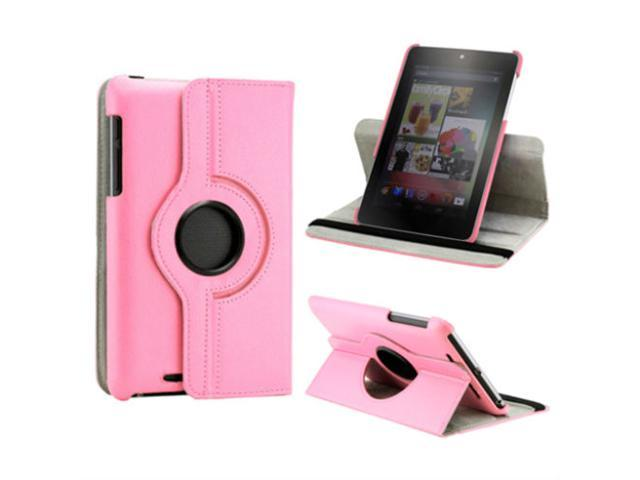 360 Rotating PU Leather Case Cover + LCD Film + Stylus For Google Nexus 7 1st generation Pink