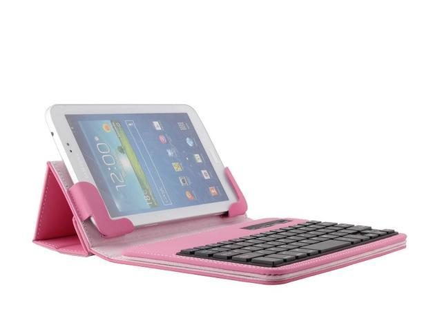 For HP Slate 7 2800 (Not 1800) Tablet Removable Wireless Bluetooth Keyboard Leather Case Cover + Stylus Pink