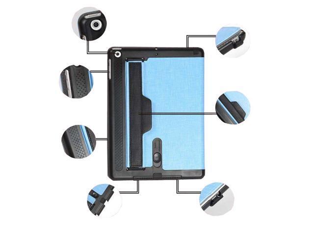 Premium Multi-function Hand Strap Leather Stand Hard Case Cover + Fim & Stylus For Apple iPad Mini Retina 2 Light Blue