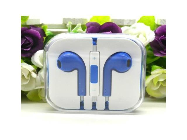 Newest Earphone Headset headphone with Remote&Mic for iPhone 5/5S/5C iTouch 5 iPad2 3 Blue