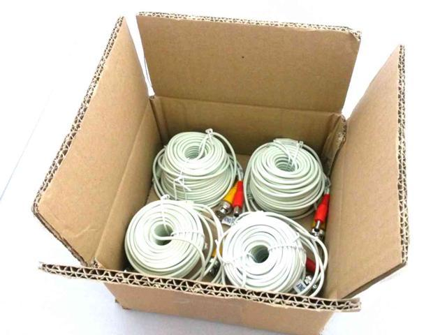 EASE W3002BD 100 Feet Siamese Video & Power Combo Cable for CCTV WHITE 4 PACK