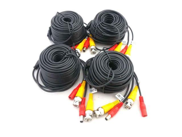 EASE W1802BD 60 Feet Siamese Video & Power Combo Cable for CCTV BLACK 4 PACK