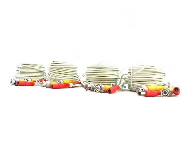 EASE W1802BD 60 Feet Siamese Video & Power Combo Cable for CCTV WHITE 4 PACK