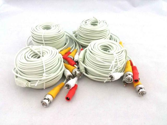 EASE W1812BD 60 Feet Video,Audio and Power all-in-one Combo Cable for CCTV WHITE 4 PACK
