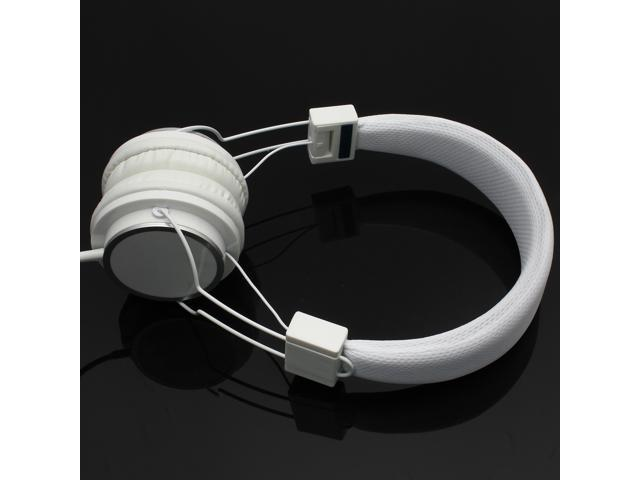White Adjustable 3.5mm Stereo Over-Ear Earphone Headphone Mic for iPhone iPod PC MP3/MP4 PC/notebook