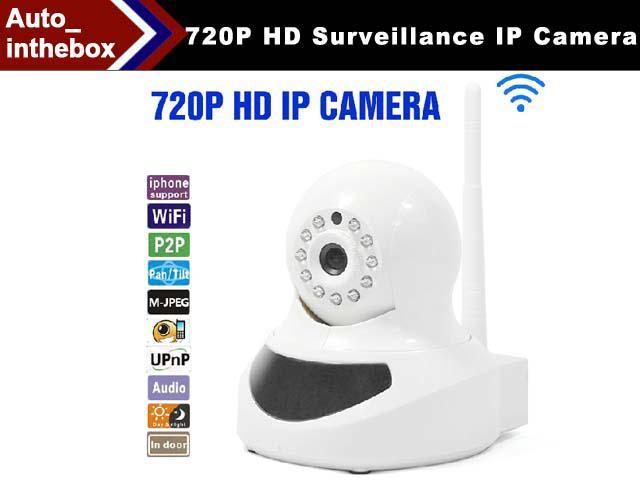 720P Wireless WiFi/WLAN P2P Network Surveillance IP Camera with Remote Control IR night vision