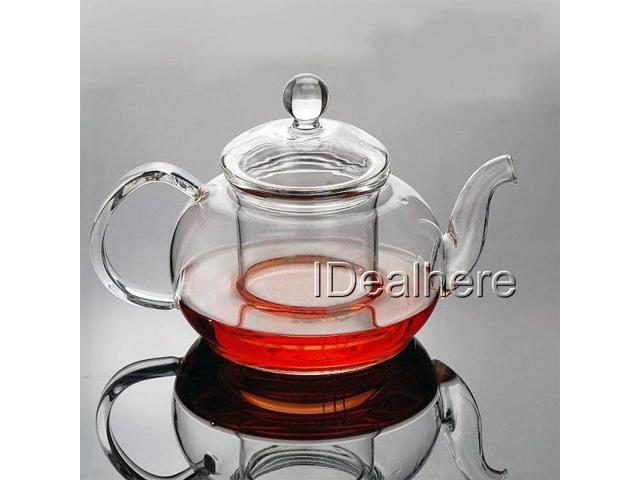 1L Sleek Clear Glass Heat Resistant Teapot w/Infuser Flower/Green Tea Pot