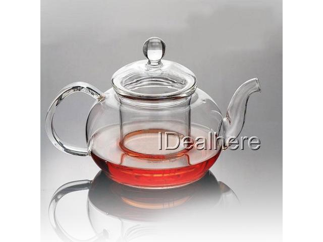 600ml Sleek Clear Glass Heat Resistant Teapot w/ Infuser Flower/Green Tea Pot
