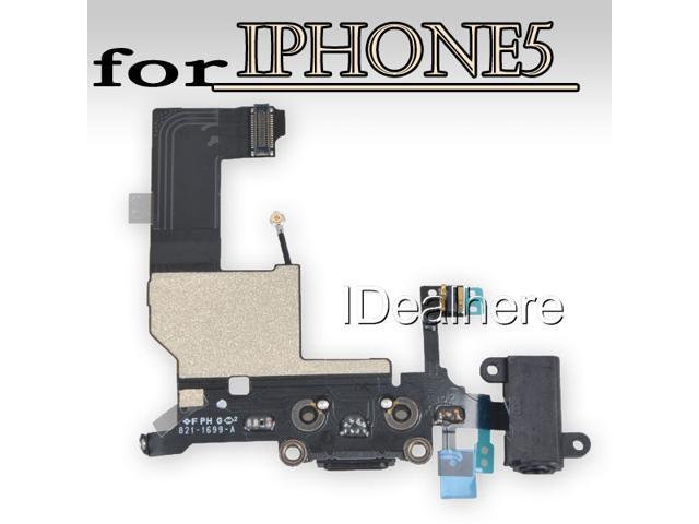 Black Headphone Audio Jack USB Charge Data Dock Port Flex Cable for iPhone5