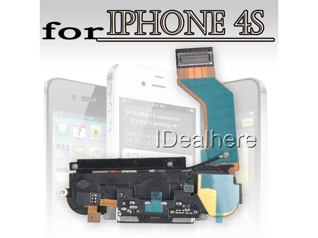 Black Replace USB Dock Charge Pork+Speaker w/Antenna Flex Cable for iPhone 4S