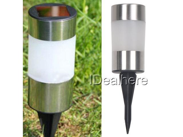 8pcs Solar Powered LED Light Stainless Steel Round Lawn Landscape LED Lamps