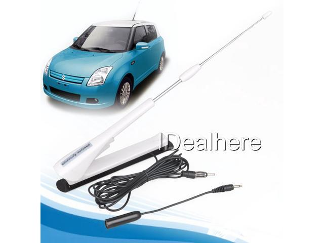 White Adjustable FM/AM Radio TV Amplified Antenna with Cable Cars Universal 12V
