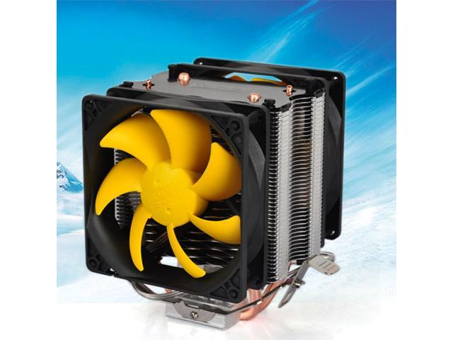 3 Pin Heatsink Dual Fan CPU Cooler for Intel LGA775/1156/1155 AMD AM2/AM2+/AM3