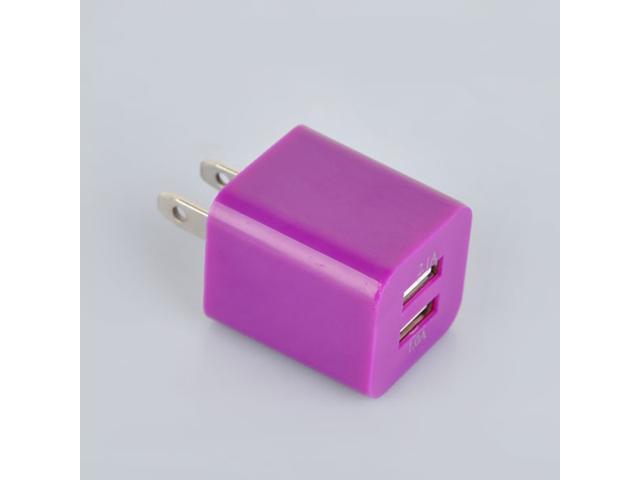 Plug Dual Ports USB Wall Charger Adapter for Samsung/iPad/iPhone Purple
