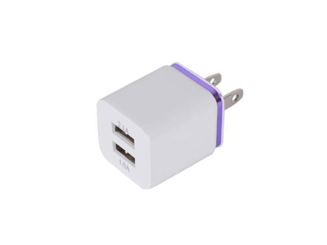 Purple 2.1A+1A Dual USB 2 Ports AC Wall Charger Adapter For Samsung/iPad/iPhone