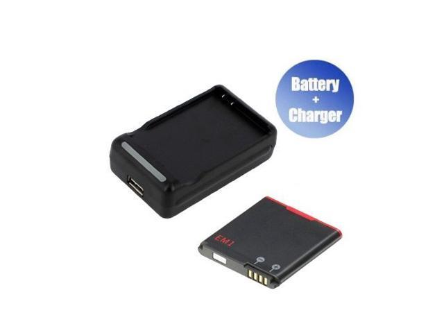 World™ New Replacement Mobile / Smart Phone Battery + Charger (With USB Output) for RIM E-M1 (1000 mAh)