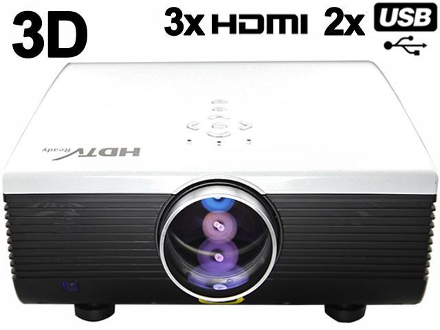 HD 1080P 30000 hours 2000 lumens LED 3D-Ready Home Theater Projector TV Mulimedia for PS3 XBOX Film KTV with HDMI*3 USB*2 WVGA, XGA, WXGA