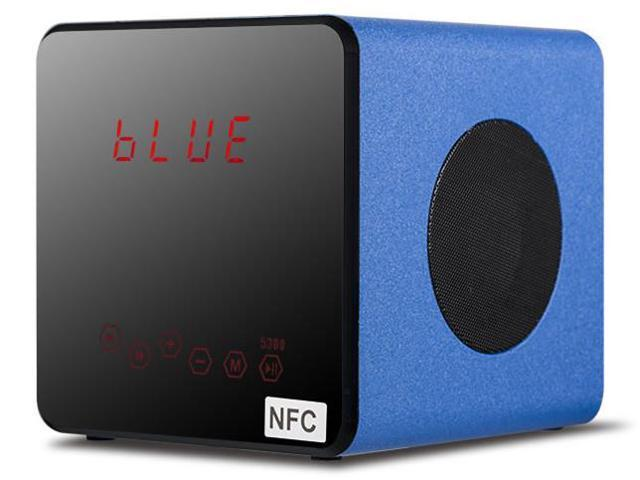 OXA Mini Fashion Portable Wireless Bluetooth Natural Wooden Speaker FM Radio,Blue