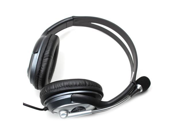 OV-L772MV USB 2.0 Stereo Headphone Microphone for PC Laptop Black with Silver