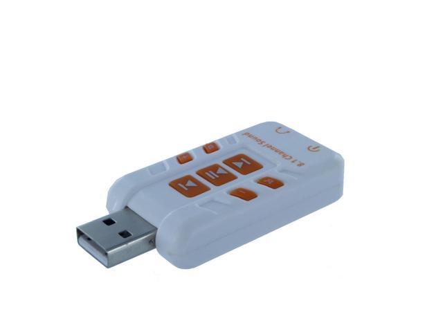 White USB External 8.1 Channel 3D Virtual Audio Sound Card Adapter PC
