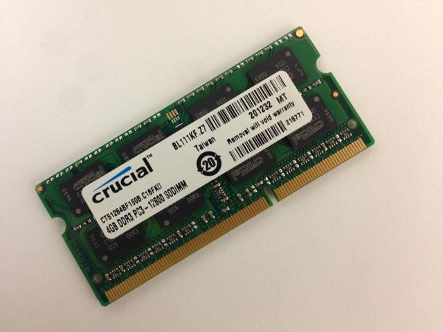 Crucial 4GB DDR3 1600 MHz PC3-12800 1.35V Laptop RAM Sodimm Memory CT51264BF160B