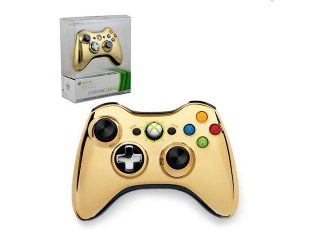 Official Microsoft Xbox 360 Special Edition Chrome Wireless Controller - GOLD
