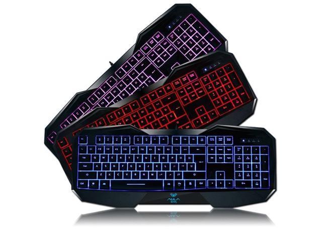 3 Colors LED Backlight USB Multimedia Illuminated Game Gaming Keyboard PC
