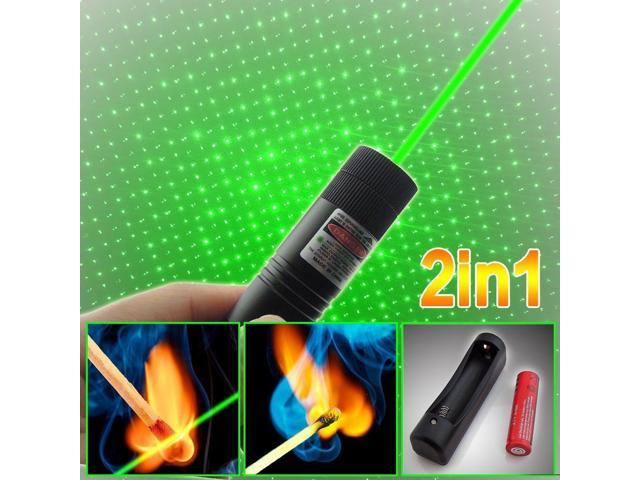 Power Military 5MW 2in1 Green Laser Pointer Pen Adjustable Focus+Battery+Charger