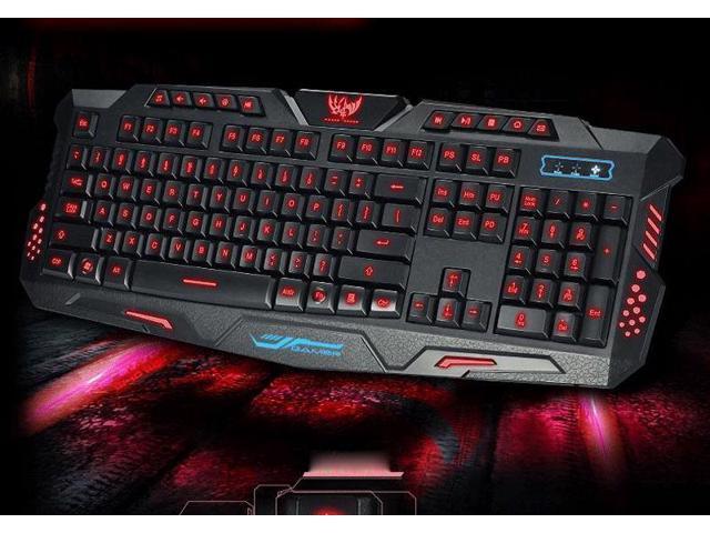 Red illuminated LED Backlight Ergonomic Gaming Keyboard Mechanical Feeling