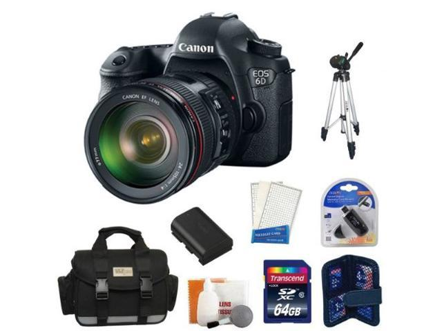 Canon EOS 6D SLR Digital Camera with Canon 24-105mm f/4.0L IS USM AF Lens + 64GB Master Kit