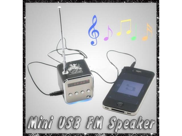 Mini Micro SD TF USB Stereo Speaker Music Player FM Radio For PC Mp3 iPhone 5S 5