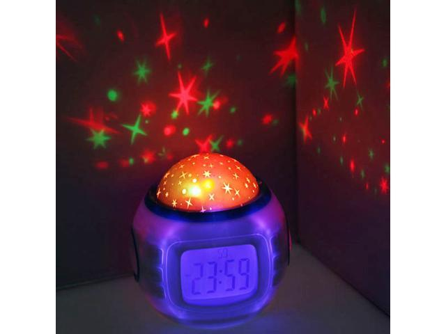 LED Starry Star Sky Projection Digital Music Alarm Clock