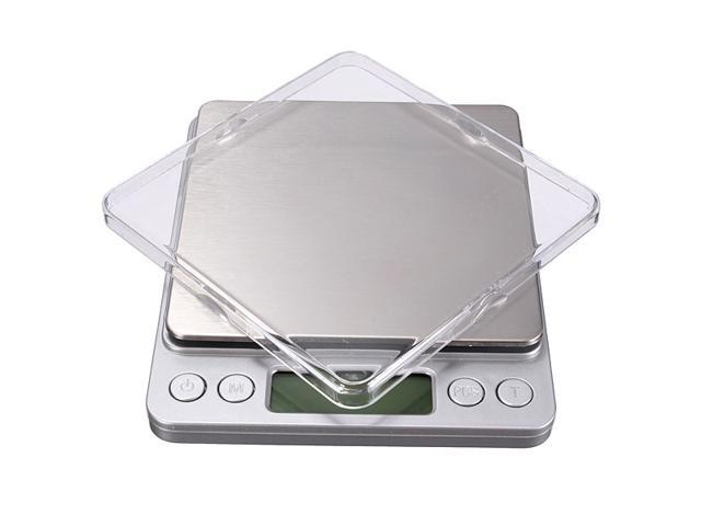 New 2kg x 0.1g Stainless Steel Digital Scale with Tray Precision Postal Kitchen