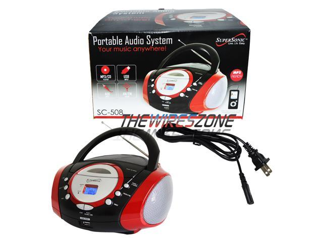 Supersonic SC-508 Red MP3/CD Player USB/AUX Inputs Radio Portable Audio System