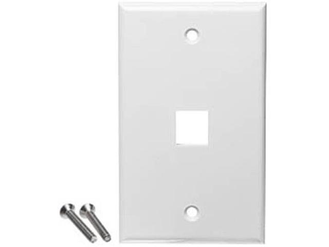 White 1 Port Hole Keystone Jack Flat Wall Plate with Smooth Surface (10/pack)