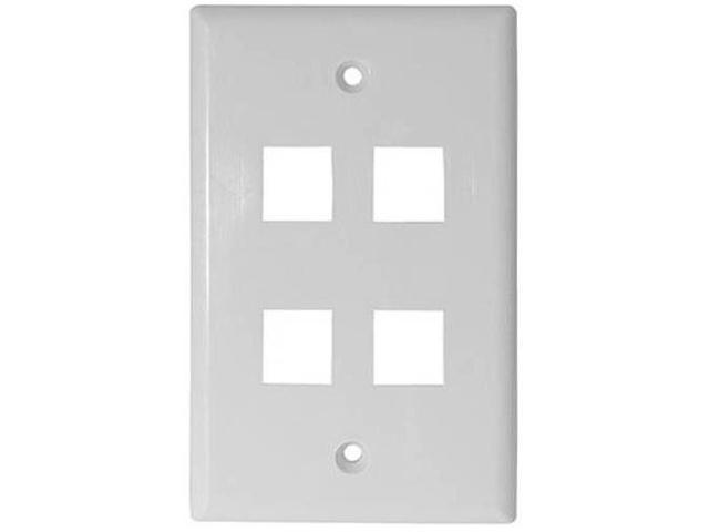 White 4 Port Hole Keystone Jack Flat Wall Plate with Smooth Surface (10/pack)