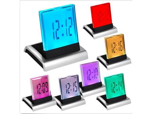 7 LED Change Colour Digital LCD Alarm Clock with Thermometer Calendar Snooze New